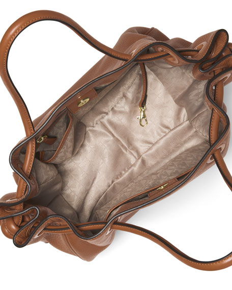 Dalia Large Leather Tote Bag, Luggage