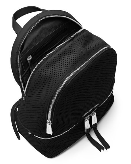 Rhea Medium Perforated Zip Backpack, Black