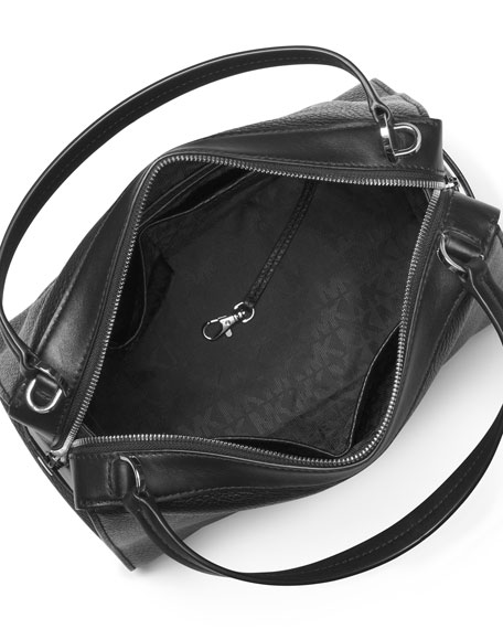 Ingrid Medium Leather Shoulder Bag, Cement/Black