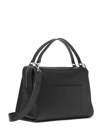 Ingrid Medium Leather Shoulder Bag, Cement/Black