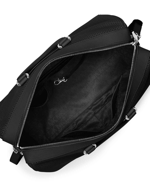 12b035e6c95f52 MICHAEL Michael Kors Libby Large Perforated Gym Bag, Black | Neiman Marcus