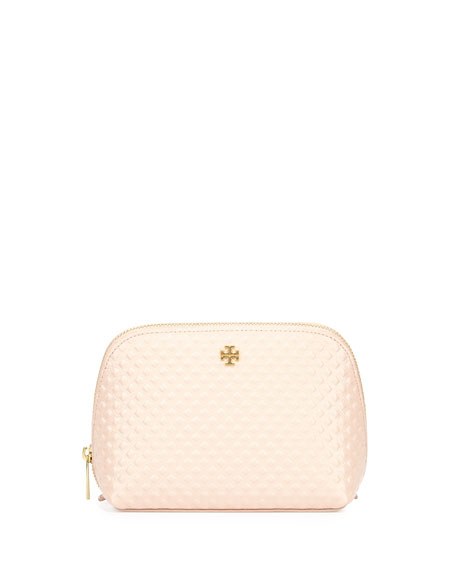 Tory Burch Marion Leather Cosmetics Case, Light Pink
