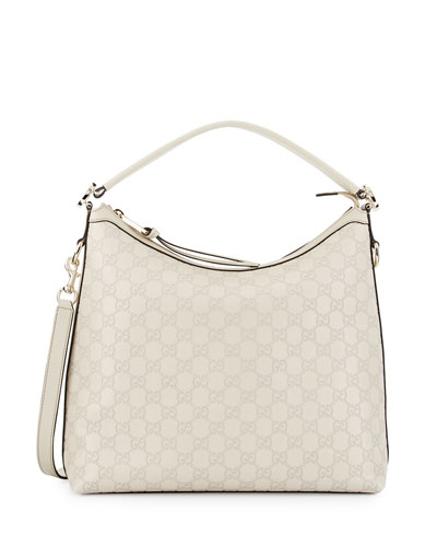 Miss GG Guccissima Leather Hobo Bag, Mystic White