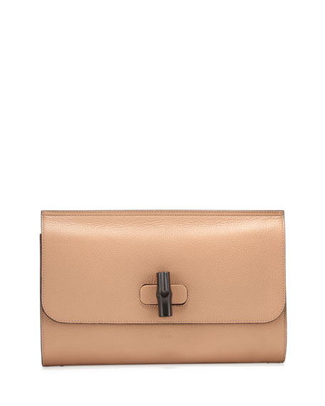 Gucci Bamboo Daily Leather Clutch Bag, Camel