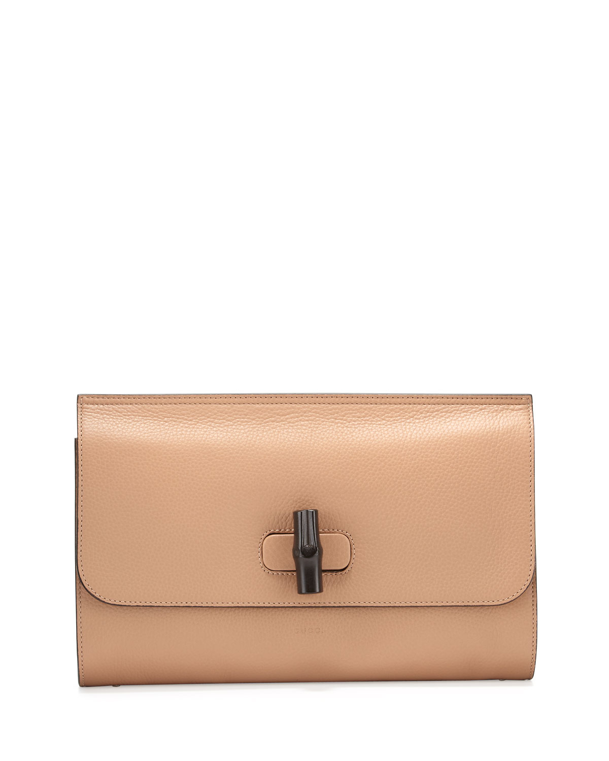 8c29b99d2028 Gucci Bamboo Daily Leather Clutch Bag, Camel | Neiman Marcus