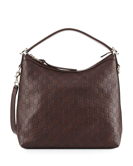 Gucci Miss GG Guccissima Leather Hobo Bag, Chocolate Brown ...