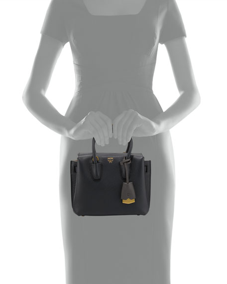 Milla Mini Leather Tote Bag, Phantom Gray