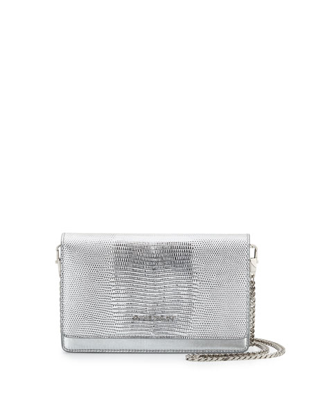 Givenchy Pandora Lizard-Embossed Wallet-On-Chain Bag, Silver