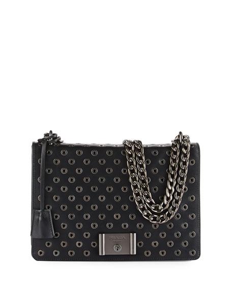 ef0ea51ff364 Prada Grommet Chain Leather Shoulder Bag
