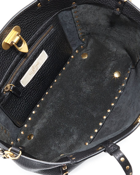 Rolling Rockstud Mini Tote Bag, Black