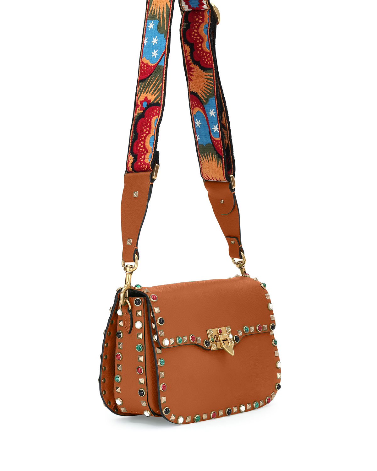 Valentino Garavani Rockstud Rolling Medium Enchanted Guitar Strap Shoulder Bag Tan Neiman Marcus