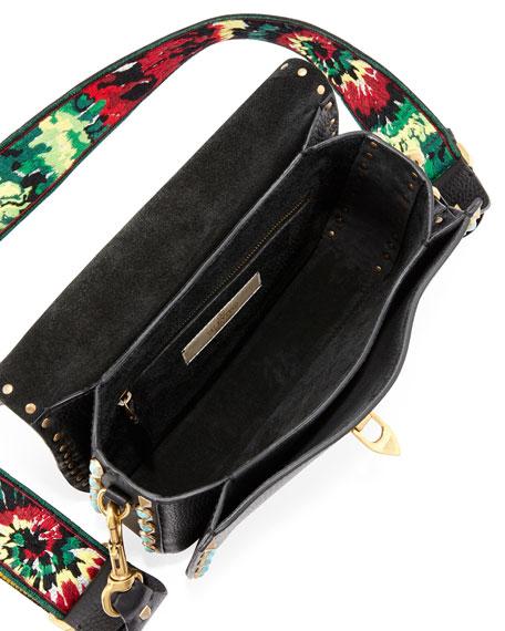 Rockstud Rolling Medium Jamaican Guitar-Strap Shoulder Bag, Black/Multi