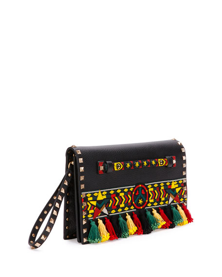 Medium Jamaican Rockstud Flap Clutch Bag, Black/Multi