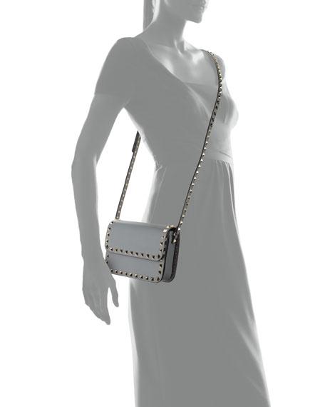 Valentino Garavani Rockstud Small Flap-Top Crossbody Bag, Gray