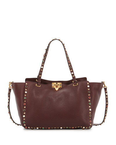 Rockstud Rolling Medium Tote Bag, Wine