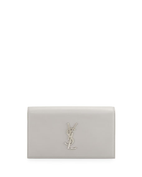 Monogram Leather Small Clutch Bag, Light Gray