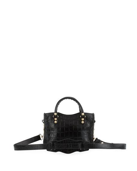 Giant 12 City Mini Croc-Embossed Bag, Black