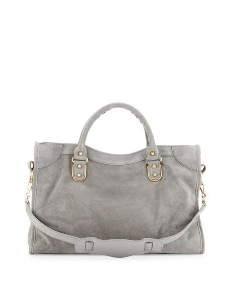 Metallic Edge Suede City Bag, Gray