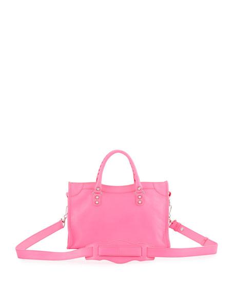 Balenciaga Classic Nickel City Small Satchel Bag Hot Pink Neiman Marcus