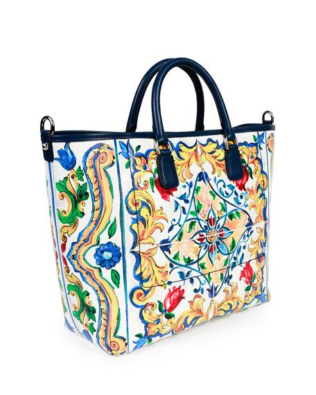 St. Maioliche Tile Shopper Tote Bag, Multicolor