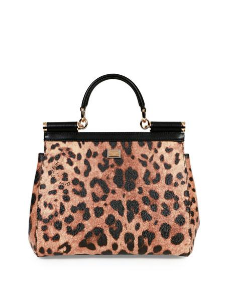 Miss Sicily Medium Stefano/Domenico Leopard-Print Satchel Bag, Multicolor