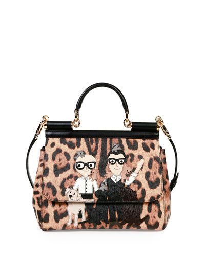 Miss Sicily Medium Stefano/Domenico Leopard-Print Satchel Bag, Multicolor
