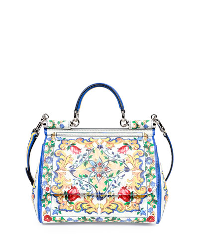 Miss Sicily Medium Leather St. Maioliche Tile Satchel Bag, Multicolor