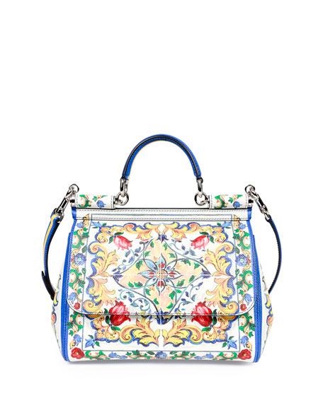 Miss Sicily Medium Leather St Maioliche Tile Satchel Bag Multicolor