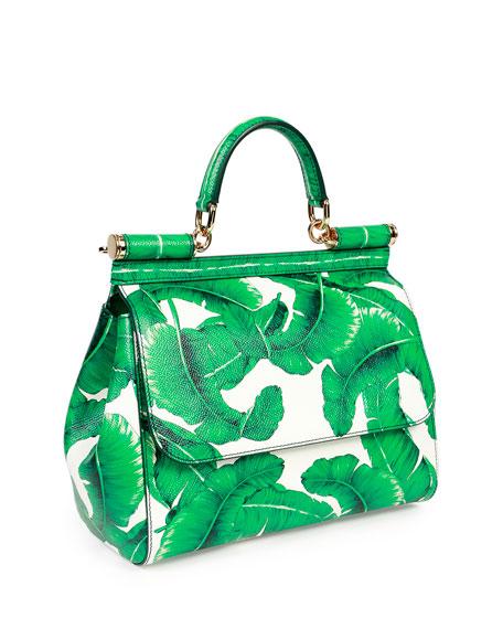 Miss Sicily Medium Leather Banana Leaf Satchel Bag, Green/White