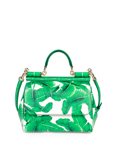 Miss Sicily Medium Leather Banana Leaf Satchel Bag, Green/White