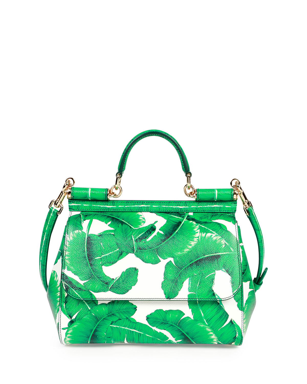 Dolce   GabbanaMiss Sicily Medium Leather Banana Leaf Satchel Bag, Green  White 7aab767d87