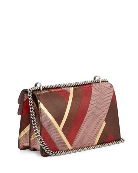 Dionysus Snakeskin Shoulder Bag, Pink/Red Brown