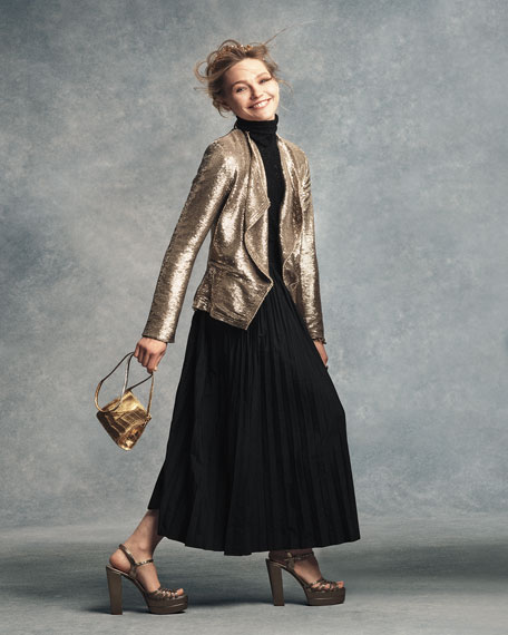 Crocodile Small Clutch Bag, Silver/Gold