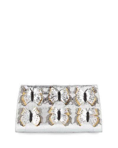 Butterfly Crocodile Small Slicer Clutch Bag, Silver/Multi