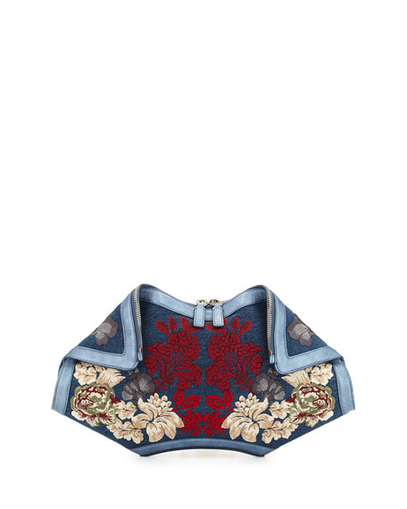 Alexander McQueen De-Manta Floral Embroidered Denim Clutch Bag