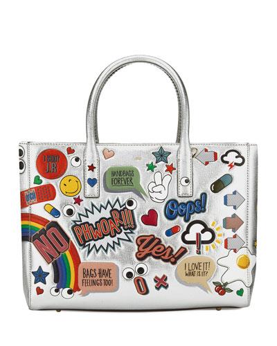 Ebury Maxi All Over Wink Sticker Shopper Bag, Silver/Multi