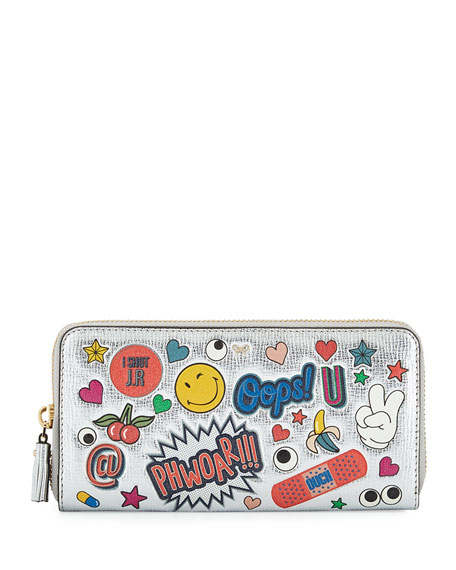 Anya Hindmarch All Over Wink Sticker Large Zip Around