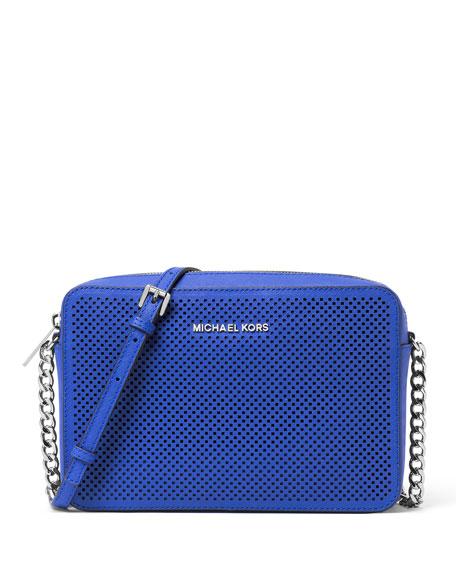 Jet Set Travel Large Perforated Crossbody Bag, Electric Blue