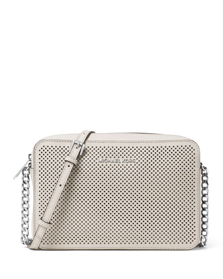 Jet Set Travel Large Perforated Crossbody Bag, Cement