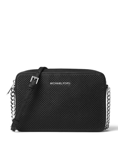 Jet Set Travel Large Perforated Crossbody Bag, Black