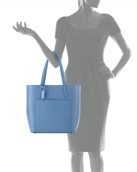 Panama North-South Zip Tote Bag, Light Blue
