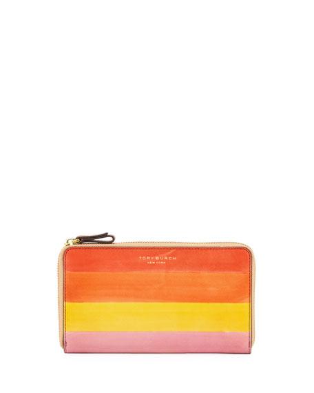 Tory Burch Block-T Dégradé Striped Leather Zip Wallet, Light Pink