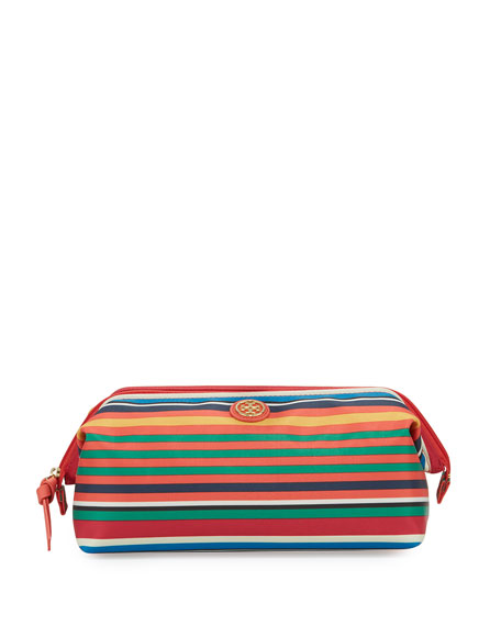 Tory Burch Large Molded Cosmetics Case, Multi Stripe