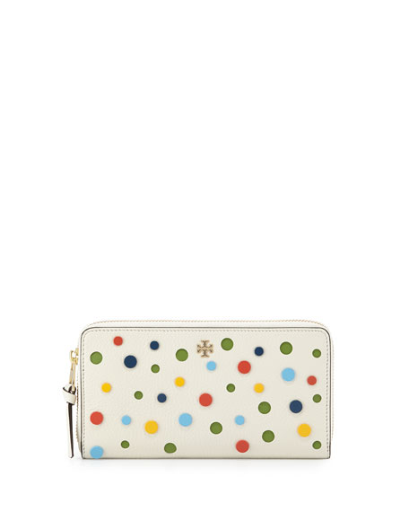 Tory Burch Confetti Leather Zip Wallet, Ivory