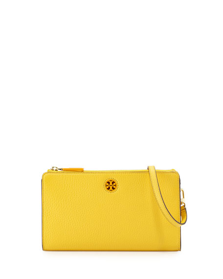 Tory Burch Robinson Pebbled Leather Crossbody Wallet, Yellow