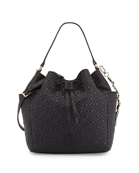 Tory Burch Marion Quilted Leather Bucket Bag, Black
