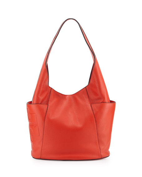 Tory Burch Bombé-T Leather Hobo Bag, Red