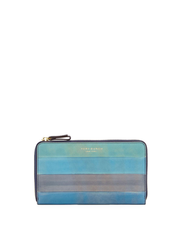 43278388ea4c Tory Burch Block-T Dégradé Striped Leather Zip Wallet
