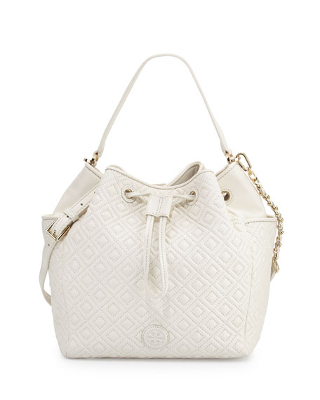 Tory Burch Marion Quilted Leather Bucket Bag, Ivory