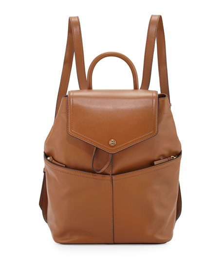 Tory Burch Avery Leather Backpack, Tan